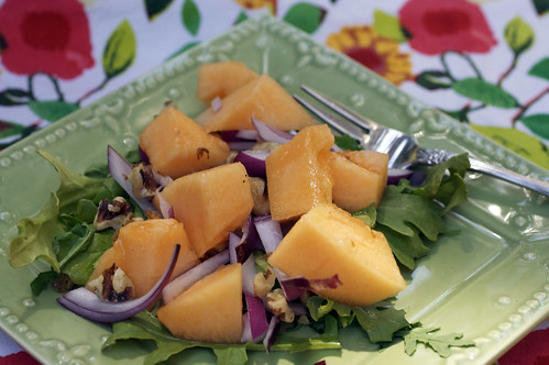 Cantaloupe, Red Onion & Walnut Salad