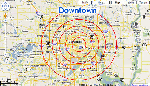 Downtowns and rankings in Google Maps