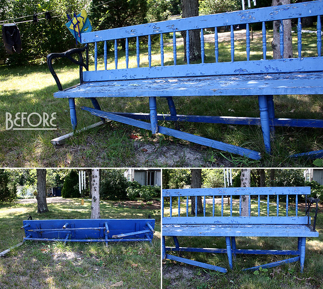 blue bench - before