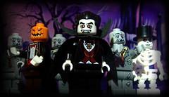 The graveyard shift (R D L) Tags: graveyard monster skeleton toy lego jackolantern vampire zombie horror undead series2 minifigures