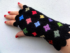 Tiny Granny Squares Mittens (eclectic gipsyland) Tags: crochet mini gloves tiny etsy multicolored eclectic grannysquare handwarmers mitaines eclecticgipsyland gipsyland mittends