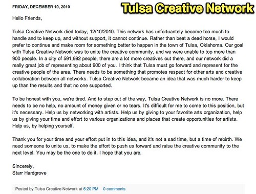 Death of a Social Network - Tulsa Creative Network