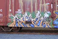 Cohee (Benching In The West) Tags: art colors graffiti paint tag letters trains graff freight bnsf boxcars adk tagger rollingstock fr8 monikers moniker cohee