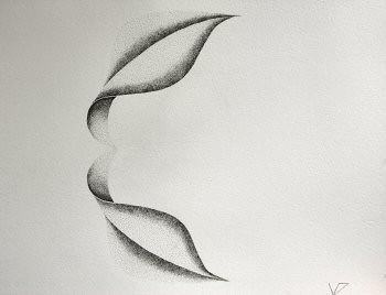 Dessin à l'encre, au point, sur papier aquarelle représentant une architecture végétale inspirée d'un pétale de dimension 30x40cm. Dans ce duo, les deux formes sont  en contact au niveau des bases – Sandrine Vallée