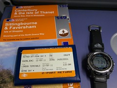 On the road again (shirokazan) Tags: uk england london train canon way walking bay 2000 map hiking united kingdom ticket os class casio shore survey saxon herne 395 g11 ordnance hs1 protrek prw