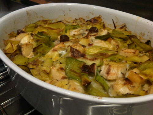 Oven baked leeks and sausages