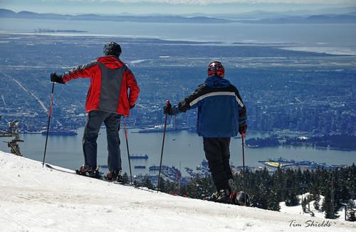 Skiers take a break