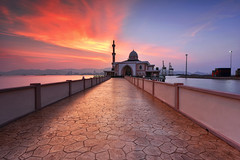 Fiery Sky (fiz_zero) Tags: nikonp nikon nikond750 nikon1635mmf4vr sunset sunrise mosque architecture building muslim religion islam nature seascape background landscape beautiful beautifulmalaysia landmark awesome outdoor sky beach photography wonderful inexplore explore longexposure asia penang malaysia nisi nisifilter nisimalaysia fantasy
