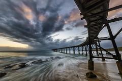 Bent (Crouchy69) Tags: sunrise dawn landscape seascape ocean sea water coast clouds sky beach sand jetty pier wharf catherine hill bay nsw australia
