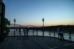Missouri River Sunset (KC Mike D.) Tags: sunset river missouri dusk railing townofkansasbridge bridge chains locks locksoflove water kansascity broadwaybridge rivermarket