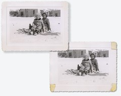 Tough sledding B&A (Rocky Pix) Tags: toughsleddingba sledding kids snow flat lawn scan retouch thirdavenuelongmontcolorado katherinealicekiteley rockypix rocky mountain pix wmichelkiteley