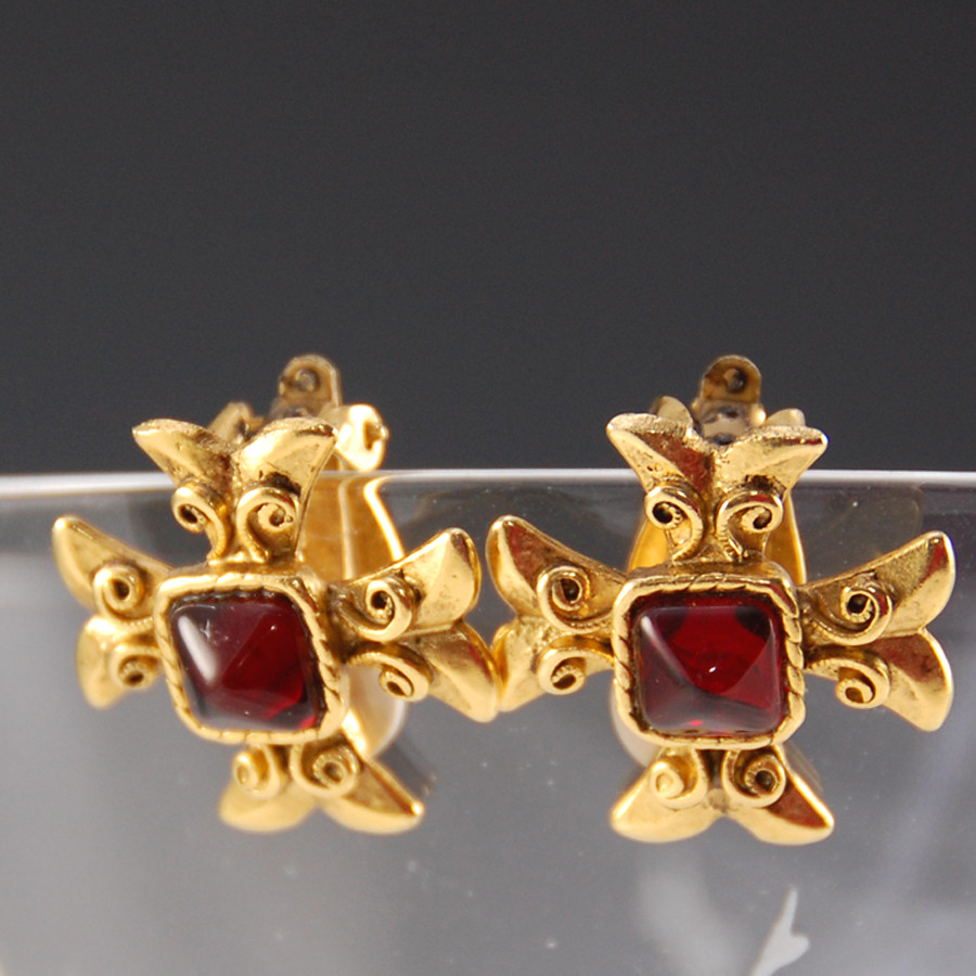 Vintage GERARD YOSCA Red and Gold Maltese Cross Earrings