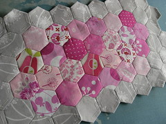The hexie side (contented be) Tags: pink grey doll quilt swap hexagons patchwork dqs9