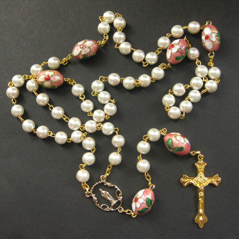 Pearl Rosary with Pink Floral Cloisonne Beads