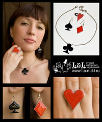 Queen of cards (l_a_n_d_l) Tags: handmade fimo earrings pendant bijouterie polimerclay