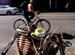 Green Apple (Georgie_grrl) Tags: toronto ontario blur bicycle downtown cyclist basket bell pentaxk1000 gears greenapple handlebars playdate shifters kingstreetwest cans2s rikenon12828mm changeyourliferideabike hangingoutwithlizzie