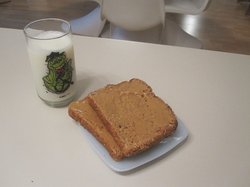 PB toast and milk