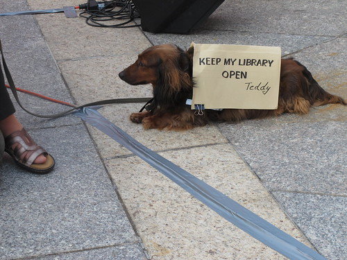 puppies against cutting the library budget