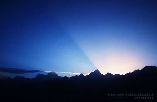 Sunrise in the Himalayas at Auli
