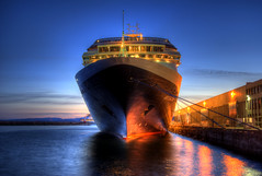 Cruise Ship at Ogden Point (HDR) (Brandon Godfrey) Tags: world pictures ocean city longexposure travel cruise pink light sunset shadow sky urban holiday canada motion blur mountains detail reflection water colors beautiful night photoshop reflections wonderful landsc