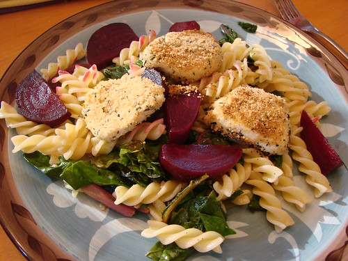 pasta with roasted beets, goat cheese and chard