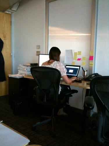 julie at her desk