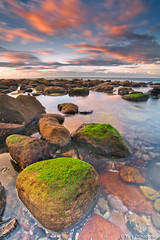 Mossy Rock (-yury-) Tags: ocean sea sky seascape beach water rock clouds sunrise landscape sydney australia nsw avalon