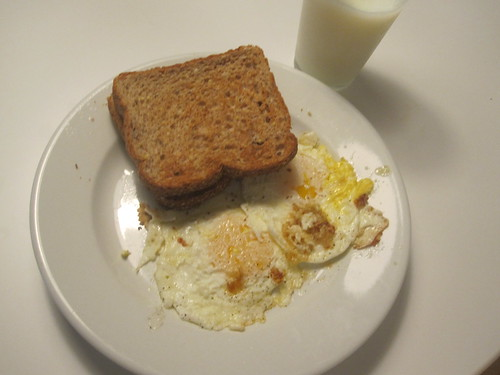 eggs, toast, milk