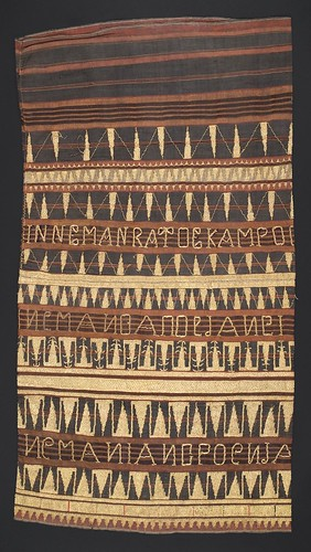 //Tapis Tua//, Paminggir people. Lampung region of Sumatra, 19th century, 112 x 60 cm. Roman script, Abung language, pucuk rebung motif. From the library of Darwin Sjamsudin, Jakarta. Photograph by D Dunlop.