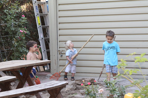 Boys with gardening tools