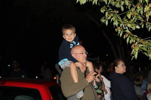Ezra and Uncle Bob before the Rose Bowl fireworks display