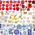 Dutch flag made from flowers, cheese and Delft blue