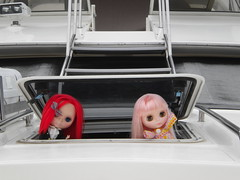 Cherry Bing and Shiori out on the boat.