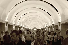 Russia: St. Petersburg Metro Station - IMG_7030-Lightroom-Canon 28.0-135.0 mm-28 mm-1-125 sec at f-8.0-ISO 800 (Andreas Helke) Tags: street people station topv111 sepia canon stpetersburg subway iso800 europa europe leute open y metro russia streetphotography 2006 fav dslr lowkey canoneos350d f8 picnik pp lightroom 1125 mensch fav2 russland 1207 canonef28135mmf3556isusm candreashelke worldsfavorite canon28135is donothide lc15 20080116281 20080118652 200804301313 200811202685 200811253166 fav2andmore 200909099577 200909109608 upload2010 invitedold allsepia