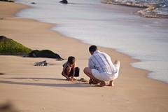 A kid's Sunday morning at the Beach!! (Sudanshu) Tags: morning india beach beautiful sunrise canon kid sand waves father son pondicherry bayofbengal x3 550d