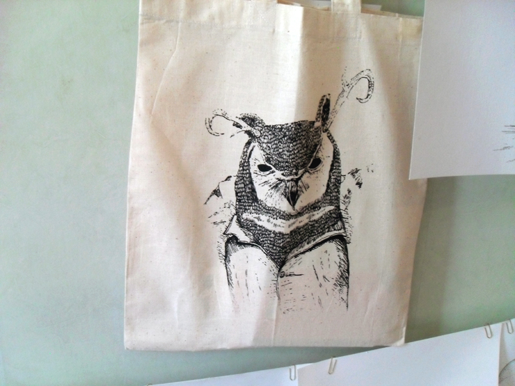 new owl tote bag!
