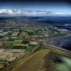 Beautiful British Columbia (ecstaticist) Tags: blue sky cloud green water contrast square pattern pentax railway delta aerial farmland sediment fraser silt helijet kx patter