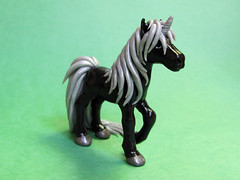 Black Unicorn (DragonsAndBeasties) Tags: sculpture horse silver girly polymerclay pony fantasy gift sculpey etsy custom figurine unicorn shimmer sephiroth