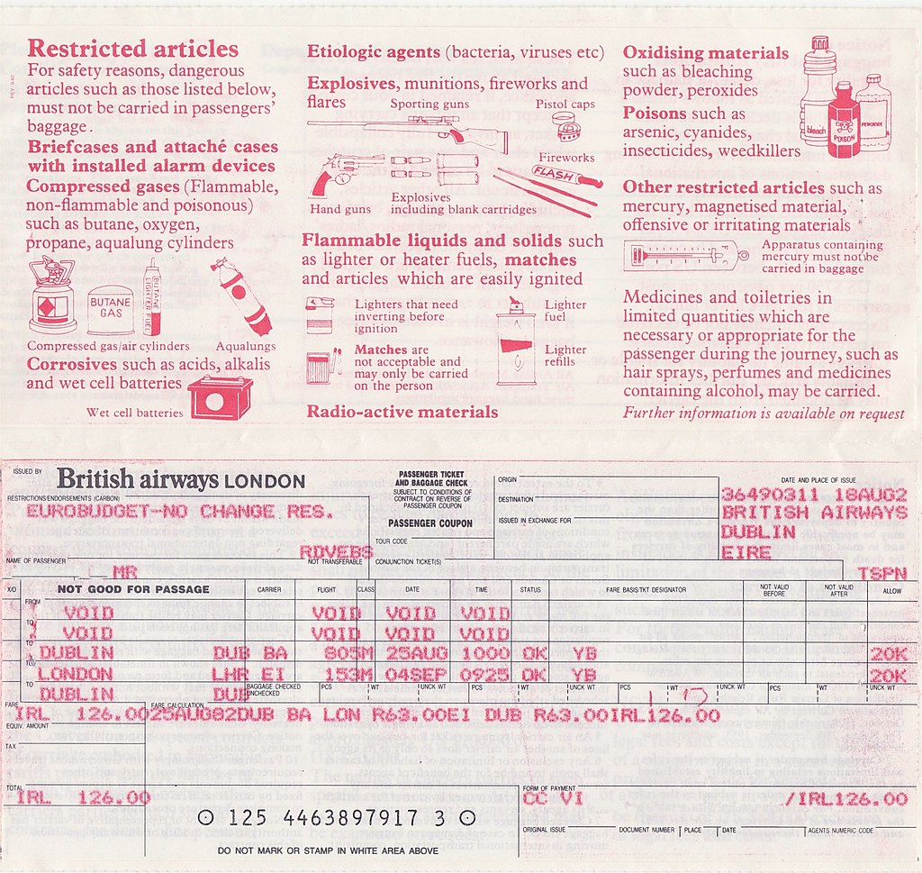 Britsh Airways Flight Ticket