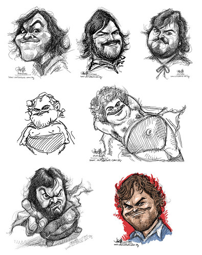 digital sketch studies of Jack Black