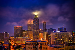 Skyline of Downtown Atlanta (Kay Gaensler) Tags: trip atlanta summer vacation usa skyline night america georgia geotagged us downtown cloudy sommer united kay roadtrip states amerika hdr 2010 staaten vereinigtestaaten vereinigte georgianterracehotel hdrcreativeshots gnsler gaensler wwwenslerde geo:lat=3377271400 geo:lon=8438394700
