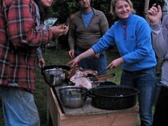 dividing pig meat