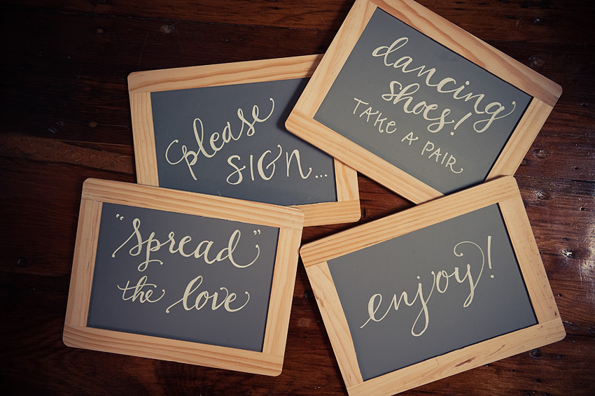 Hand lettering on faux chalk boards