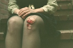 (genevive bjargardttir) Tags: woman film stockings analog 35mm iso800 blood hands fuji dress accident wounded tights bloody knee praktica nylons npz mtl3 composure genevivebjargardttir