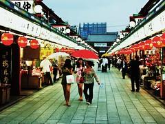 Sens-ji market, Asaksa (Cara Bendon Photography) Tags: friends red people green rain tokyo market dusk umbrellas asaksa
