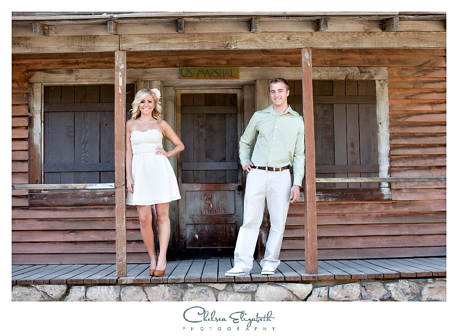 Old western town engagement photography