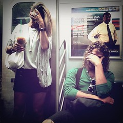 """Study on Subway Riders as Chameleons in Synch"" (Sion Fullana) Tags: nyc people urban newyork subway square streetphotography squareformat characters urbanjungle curlyhair decisivemoment newyorkers newyorklife iphone greensweater newyorksubway 500x500 perfecttiming urbanshots coolsunglasses urbannewyork decisivemoments iphone4 iphonephotography iphoneshots camerabagapp iphoneography iphoneographer hipstamatic hipstamaticapp chameleonsubwayriders actinginsynch girlwithastarbuckscup blondeinaminiskirt guywithblondcurls arethe80sback ifyouchecktheirlookskindofright throughthelensofaniphone mobilephotogroup"