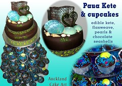 PAUA KETE NEW ZEALAND BIRTHDAY CAKE AND CUPCAKES (Anita (Auckland Cake Art)) Tags: birthday cake seashells cupcakes chocolate paua kete