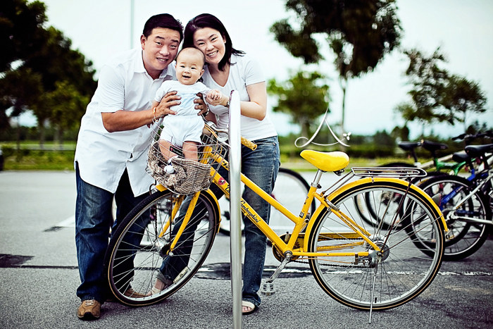 On the yellow bicycle!