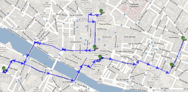Mapa Roteiro a pé Florença